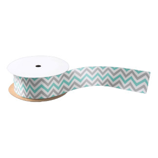 Aqua Turquoise Gray Wht LG Chevron ZigZag Pattern Blank Ribbon