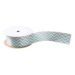 Aqua Turquoise Gray Wht LG Chevron ZigZag Pattern Satin Ribbon