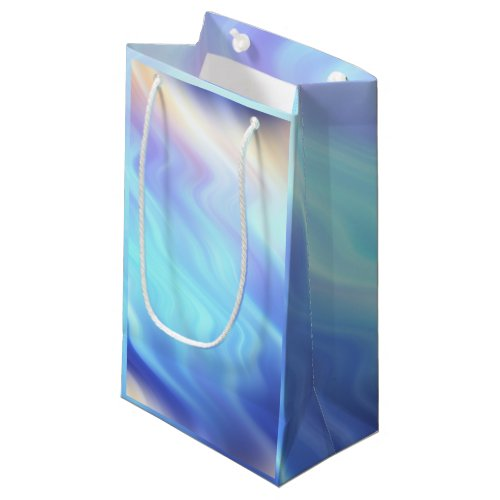 Aqua Turquoise Lavender Waves Small Gift Bag