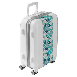 Aqua turquoise marble mermaid fish scales luggage