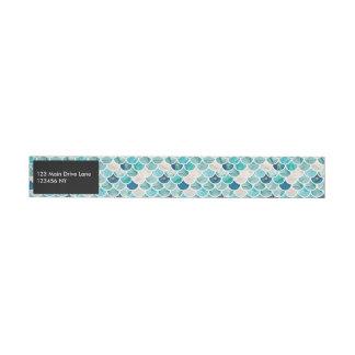 Aqua turquoise marble mermaid fish scales wrap around address label