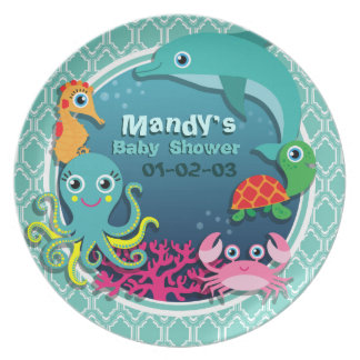 Aqua Turquoise Ocean Life Baby Shower Party Plate