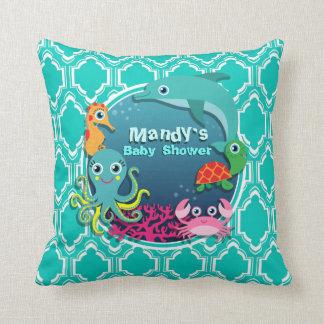 Aqua Turquoise Ocean Life Baby Shower Throw Pillows
