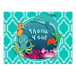 Aqua Turquoise Ocean Life Baby Shower Post Cards