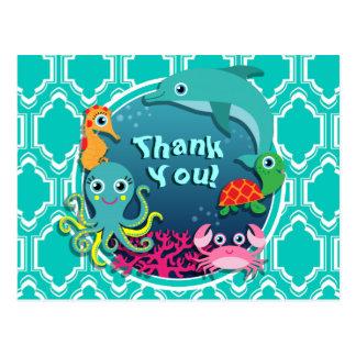 Aqua Turquoise Ocean Life Baby Shower Postcard
