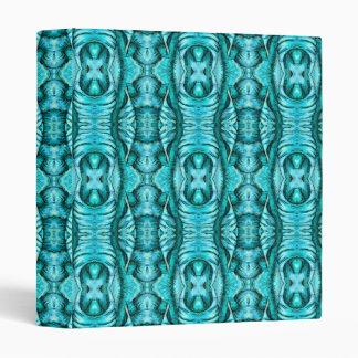 Aqua Turquoise Ocean Wing Organic Pattern 3 Ring Binder