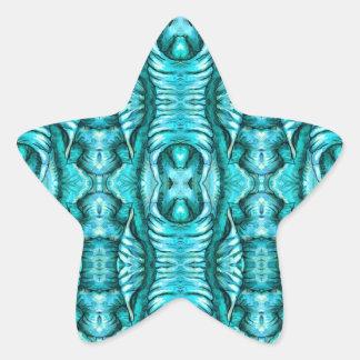 Aqua Turquoise Ocean Wing Organic Pattern Star Sticker