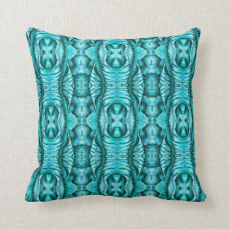 Aqua Turquoise Ocean Wing Organic Pattern Throw Pillow