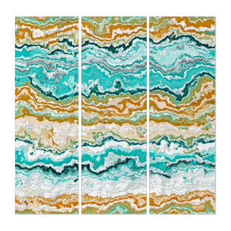 Aqua Turquoise Orange White Minerals Agate Pattern Triptych