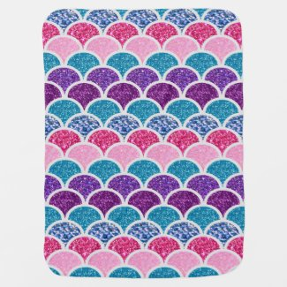 aqua turquoise pink purple mermaid scales baby blanket