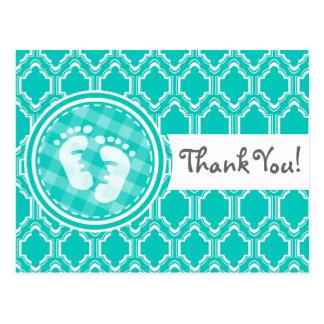 Aqua Turquoise Retro Baby Feet Baby Shower Postcard