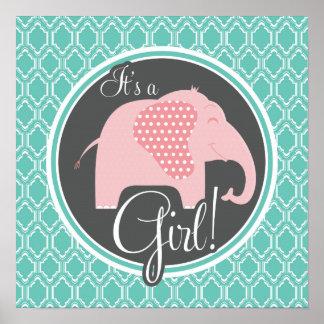 Aqua Turquoise Retro Baby Girl Elephant Shower Poster