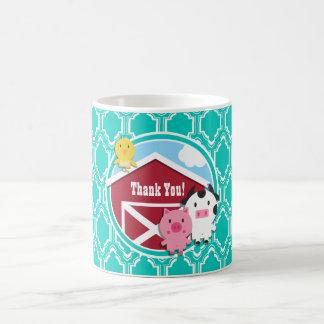 Aqua Turquoise Retro Farm Animal Baby Shower Classic White Coffee Mug