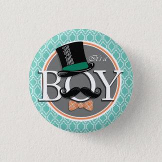 Aqua Turquoise Retro Funny Boy Baby Shower Button