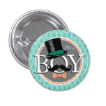 Aqua Turquoise Retro Funny Boy Baby Shower Pinback Button