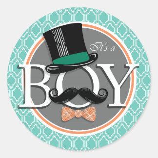 Aqua Turquoise Retro Funny Boy Baby Shower Classic Round Sticker