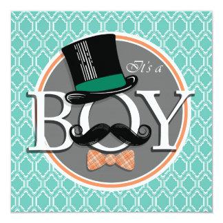 "Aqua Turquoise Retro Funny Boy Baby Shower 5.25"" Square Invitation Card"