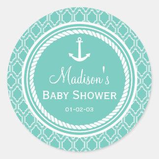 Aqua Turquoise Retro Nautical Anchor Baby Shower Classic Round Sticker