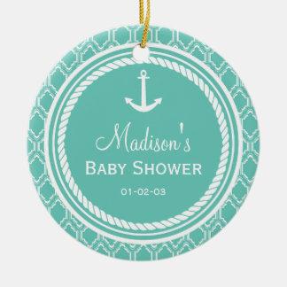 Aqua Turquoise Retro Nautical Anchor Baby Shower Double-Sided Ceramic Round Christmas Ornament