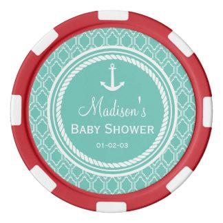 Aqua Turquoise Retro Nautical Anchor Baby Shower Poker Chip Set