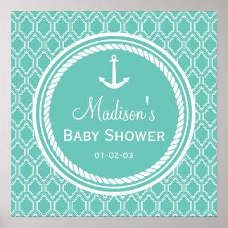Aqua Turquoise Retro Nautical Anchor Baby Shower Poster