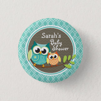 Aqua Turquoise Retro Owls Baby Shower Button