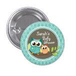 Aqua Turquoise Retro Owls Baby Shower Button