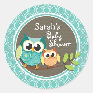 Aqua Turquoise Retro Owls Baby Shower Classic Round Sticker