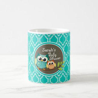 Aqua Turquoise Retro Owls Baby Shower Coffee Mugs