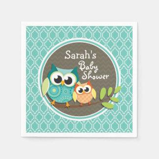 Aqua Turquoise Retro Owls Baby Shower Paper Napkin