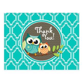Aqua Turquoise Retro Owls Baby Shower Postcard