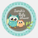 Aqua Turquoise Retro Owls Baby Shower Round Sticker