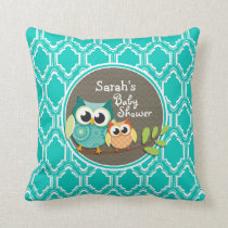 Aqua Turquoise Retro Owls Baby Shower Throw Pillow