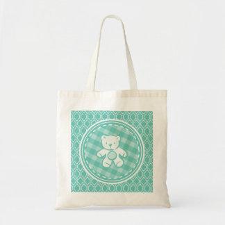 Aqua Turquoise Retro Teddy Bear Baby Shower Canvas Bag