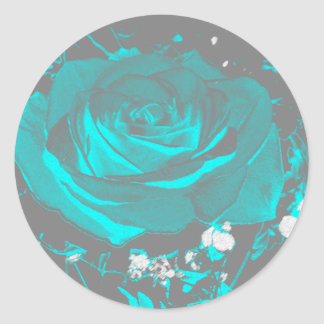 Aqua Turquoise Rose Roses Blossoms Flower Flowers Classic Round Sticker