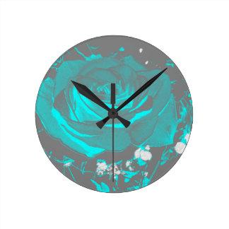 Aqua Turquoise Rose Roses Blossoms Flower Flowers Round Clock