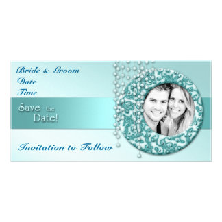 Aqua Turquoise Save the Date Card