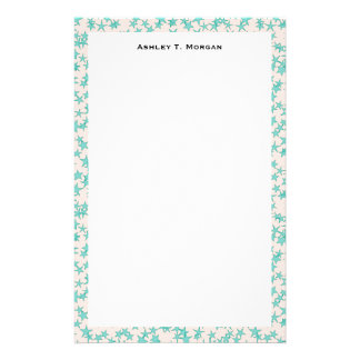 Aqua Turquoise Stars White Background Stationery