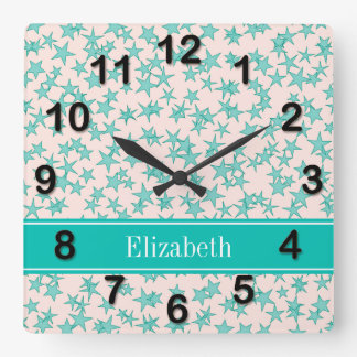 Aqua / Turquoise Stars White BG, Name Monogram Square Wall Clock