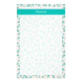 Aqua / Turquoise Stars White BG, Name Monogram Stationery