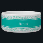 """Aqua Turquoise Stars White BG, Teal Name Monogram Bowl<br><div class=""""desc"""">Aqua Turquoise Stars on a White Background, Teal Name Ribbon Look Monogram Label Customize this with your name, monogram or other text. You can also change the font, adjust the font size and font color, move the text, add additional text fields, etc. Please note that this is a digitally created...</div>"""