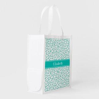 Aqua Turquoise Stars White BG, Teal Name Monogram Grocery Bag