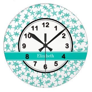 Aqua Turquoise Stars White BG, Teal Name Monogram Large Clock