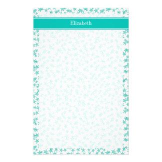Aqua Turquoise Stars White BG, Teal Name Monogram Stationery