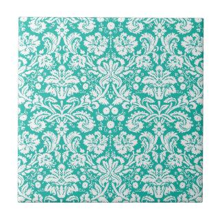 Aqua Turquoise Teal damask pattern Ceramic Tile