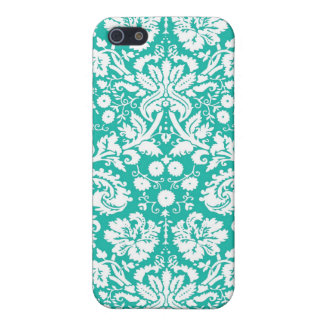 Aqua Turquoise Teal damask pattern iPhone 5 Covers
