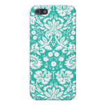 Aqua Turquoise Teal damask pattern iPhone SE/5/5s Cover