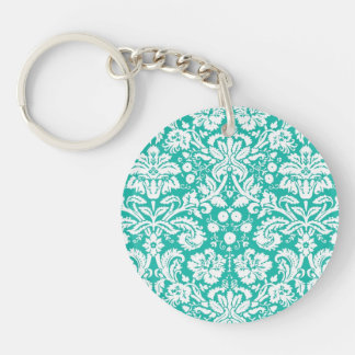 Aqua Turquoise Teal damask pattern Keychain