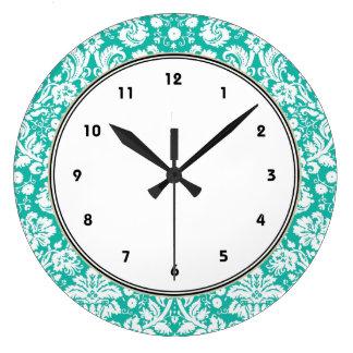 Aqua Turquoise Teal damask pattern Large Clock