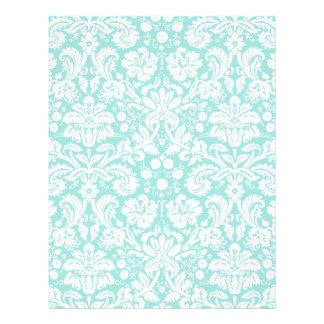 Aqua Turquoise Teal damask pattern Letterhead